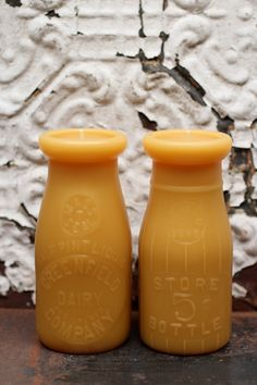 Beeswax Candle Set - milk bottle candles