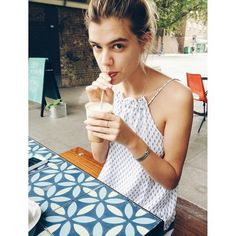 Joanna Halpin sippin' on her ice coffee all day errrrryday! #howwelikeit  Shop our 'New Age' dress here: http://www.faithfullthebrand.com/products/new-age-dress