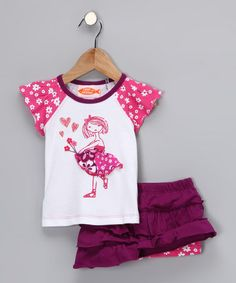 Take a look at this Hot Pink Flower Girl Raglan Tee & Skirt - Infant, Toddler & Girls by Sweet Potatoes on #zulily today!