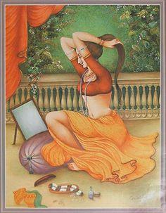 Indian Art Paintings: Indian Women Doing Makeup
