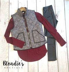 Herringbone Vest with Pleather Leggings and our Casual Maroon Tunic Top