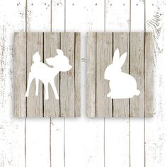 Nursery Art Prints, Woodland Nursery Prints, Wood Art Print of Deer and Bunny, Modern Nursery Wall Decor