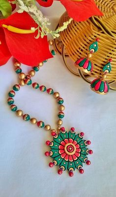 Round Flower Terracotta Necklace and Ear-hangings set: