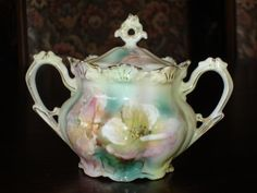 Meissen Cup with Lid   RS Prussia Two Handled Sugar Bowl With Lid