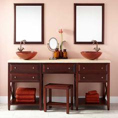 "72"" Glympton Vessel Sink Double Vanity with Makeup Area - Mahogany"