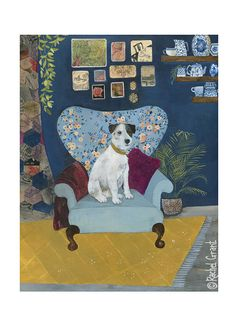 """""""Hello again here I am full up with pasta à la DrS. Rachel Grant 'A Favourite Spot' Cosy looking dog but is it his chair? Looks a bit posh to me. Maybe he's keeping it for someone"""" Rachel Grant, Grandma Moses, Dictionary Art, Art Fair, Animal Paintings, Dog Art, Botanical Prints, Legos, Pet Portraits"""