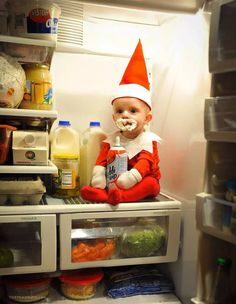 By now, your Elf on the Shelf has probably wreaked havoc on your home and made tons of reports back to Santa about your kid's behavior. Though your elf (read: Babies First Christmas, Christmas Baby, Christmas Humor, Xmas, Funny Christmas Photos, Holiday Pictures, Foto Baby, Christmas Photography, Newborn Pictures