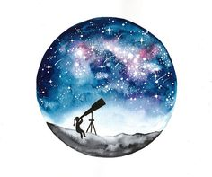 Original watercolor painting Stargazer girl and by BluePalette