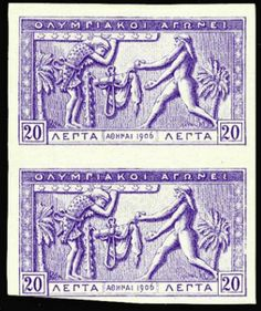 1906 Olympics, 20L ultramarine (issued color was magenta), proof on stamp paper, imperf. vertical pair, cut close at bottom, fine --- $400.00   2013year