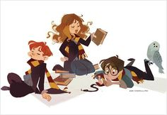 Ron, Hermione and Harry by Ann Marcellino