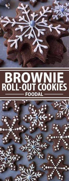 These soft, brownie-like cookies are the perfect update to your usual sugar cut-outs. And for anyone with a chocolaty sweet tooth, they make lovely Christmas gifts, tucked into colorful tins and wrapped with tissue paper. Enjoy them plain, or decorate the Brownie Cookies, Cookie Desserts, Holiday Cookies, Chocolate Cookies, Christmas Desserts, Holiday Treats, Holiday Recipes, Cookie Recipes, Christmas Brownies