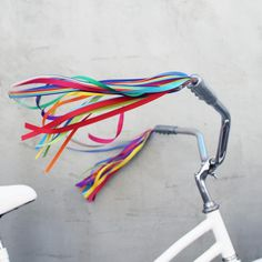 Rainbow Bike Streamers - Handlebar Streamers for your Bike, Trike, or Scooter. So classic and sure to bring on nostalgic childhood memories. Colors Cherry, tiger orange, yellow gold, grass green, emerald green, cerulean, sapphire blue, magenta, violet, rainbow striped. Available in adult size and child size lengths.