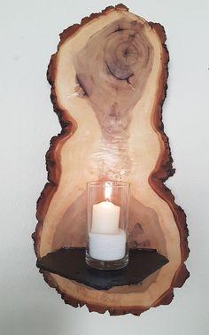 Große Wanddeko Kerzenhalter Wandregal Holz Pappel Baumscheibe Handarbeit  Unikat In Möbel U0026 Wohnen, Dekoration, Kerzenständer U0026 Teelichthalter