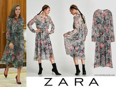 ZARA Printed Midi Dress. Debuted: Queen Letizia of Spain attends several audiences at the Zarzuela Palace on October 17, 2017 in Madrid, Spain.