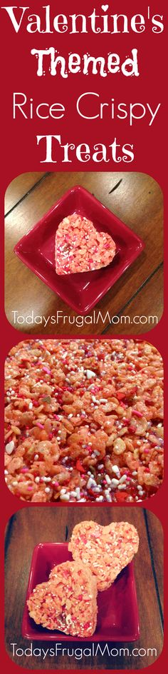 These Valentine's Day Themed Rice Crispy Treats are just what you need to spruce up your Valentine's Day party! They are super easy and cheap to make - and the children will have a blast with you! :: Today's Frugal Mom™