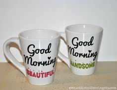 DIY Good Morning Mugs from Dollar Store (just add vinyl cut with your Silhouette!) - Addicted 2 Savings 4 U