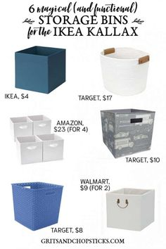 DIY Home Decor Inspiration : Illustration Description Check out these amazing storage bins that maximize space and minimize clutter in the IKEA KALLAX shelves! -Read More – Ikea Cube Shelves, Ikea Storage Bins, Ikea Bins, Ikea Kallax Shelf, Shelf Bins, Bookshelf Storage, Cube Storage, Diy Storage, Food Storage