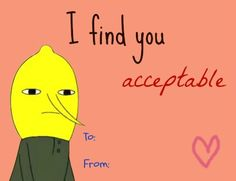 Lemongrab valentine card