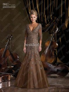 Wholesale Sexy Gold Mother Of The Bride Dresses 2013 V Neck Long Sleeves Beads Lace Mermaid Dresses 212d71, Free shipping, $122.08-138.88/Piece | DHgate