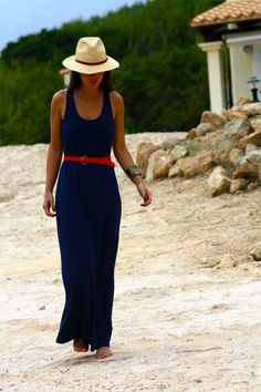 Navy Blue Maxi Dress with red accent belt.