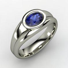 Anzu Ring - Oval Sapphire Platinum Ring | Gemvara