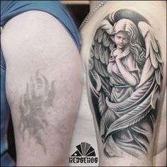 Tattoo Aleksey Ulyanov - tattoo's photo In the style Cover-up, Whip Shading, Male, Girls, Ange Hip Thigh Tattoos, Thigh Tattoo Designs, Angel Tattoo Designs, Tattoo Designs Men, Angel Tattoo Men, Hand Tattoos, Girl Tattoos, Sleeve Tattoos, Tattoos For Guys