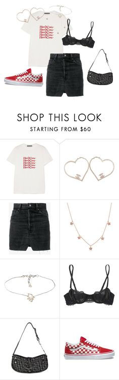 """cherry pop and late night gas station"" by emma-shoemaker on Polyvore featuring AlexaChung, Chanel, Vetements, Anne Sisteron, Elle Macpherson Intimates, Christian Dior and Vans"
