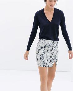 Forever skirt + navy V neck sweater -- Image 5 of PRINTED NEOPRENE SKIRT from Zara