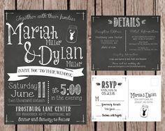 Printable Chalkboard Wedding Invitation Set