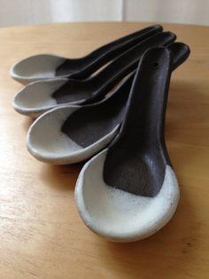 Japanese Lenge Spoons/chocolate brown ceramic soup spoons
