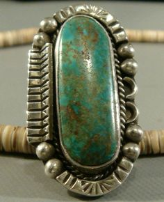 RARE LARGE & HEAVY SIGNED 1940's Navajo Old Pawn Turquoise Sterling Silver Ring