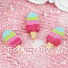6 x Rainbow Ice Cream Fake Sweets Kawaii Cabochon Deco Cabochon Decoden
