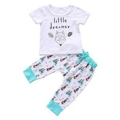 Summer Baby Boys Girls Short Sleeve Outfits Clothes Little dreamer T-shirt Print Pants Clothes Set Cotton Clothing Boys And Girls Clothes, Kids Outfits Girls, Baby Boy Outfits, Kids Girls, Baby Boy Newborn, Baby Boys, Lil Boy, Infant Boys, Short Outfits
