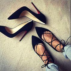 black Women Lace up Ballet Flats Crazy Shoes, Me Too Shoes, High Heel Pumps, Pumps Heels, Black Lace Up Flats, Black Heels, Look Formal, Tabata, Womens High Heels