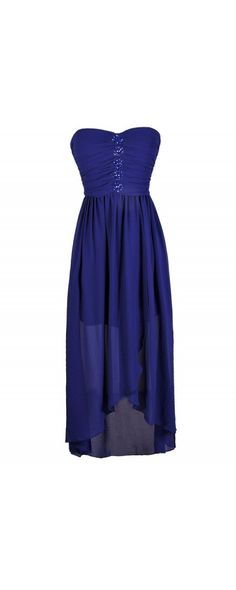 Blue Without You Embellished Chiffon High Low Dress  www.lilyboutique.com