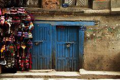 Blue, bold and beautiful in Kathmandu, Nepal. doors of the world. blue door. front door. travel. Nepal.