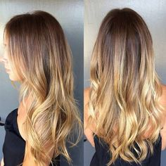 Brunette with melted butter highlights