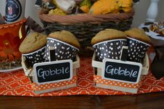Pumpkin muffins at a Thanksgiving party.  See more party ideas at CatchMyParty.com.  #thanksgivingpartyideas