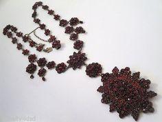1800's Large Antique Victorian Czech Bohemian Rose Cut Garnet Necklace