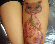 Cat tattoo - back of leg