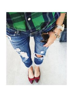Green Plaid | Torn Denim | Red Bows