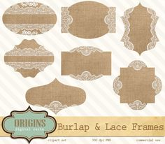 Burlap and Lace Labels, Frames, Tags Digital Clipart, Clip Art for Weddings, Scrapbooking Embellishments, Save the Date Invitations by OriginsDigitalCurio on Etsy https://www.etsy.com/listing/197700223/burlap-and-lace-labels-frames-tags