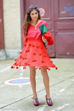 the cherry bedecked dress! #CosimaRamirezDeLaPrada in Paris.