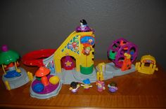 Fisher Price Little People Carnival  Merry Go Round Airplane Ride Ferris Wheel #FisherPrice