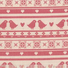 Remnant - Christmas Cotton - Red Festive Lovebird Stripe Natural - 37 x 110cm - Remnant Basket - Discount Fabric