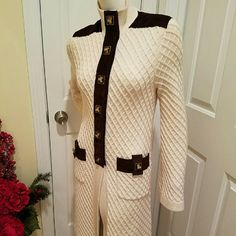 """Ivory Tory Burch EUC Sweater/Sweater Coat Beautifully trimmed with a dark brown 100% soft suede & the cutest """"Tory Burch"""" toggle closures Functional front pockets also have those details Sleeve length 26"""" Across bust 21"""" Length 37"""" 100% wool (not itchy at all very soft ) I'd call it a medium weight it's not overly heavy but also not flimsy & thin Great Spring transition piece Can go from jeans on Saturday or w/dress for office Excellent condition Tag marked XS wld also fit Small Tory Burch…"""