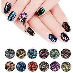 Makartt 12 jars Chameleon Glitter Flakes Galaxy Nail Sequins Nail Art Powder Gel Nail Polish ** Continue to the product at the image link. (This is an affiliate link and I receive a commission for the sales) #FootHandNailCare