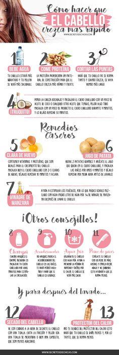 8 tricks on how to grow hair - 1001 Tips para el Cabello - Accesorios para Cabello Beauty Care, Beauty Skin, Health And Beauty, Hair Beauty, Beauty Makeup, Healthy Tips, Healthy Hair, Curly Hair Styles, Natural Hair Styles