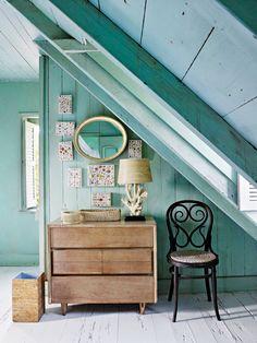Shop The Look: Tom Scheerer's Fresh Coastal Style Interior Exterior, Interior Design, Paint Companies, Attic Rooms, Green Rooms, Coastal Style, Coastal Living, Coastal Decor, My Dream Home