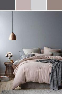 rose gold bedroom decor - Internal Home Design Popular Bedroom Colors, Grey Bedroom Colors, Grey And Gold Bedroom, Bedroom Colour Palette, Bedroom Red, Bedroom Color Schemes, Home Decor Bedroom, Bedroom Furniture, Bedroom Ideas